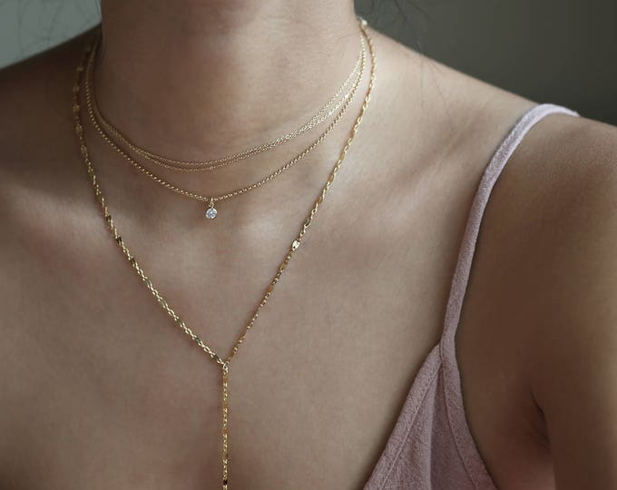 Dainty Layered Layering Necklace - 3 Necklace combo including CZ rolo/ Dainty wrap/ Lace Y lariat