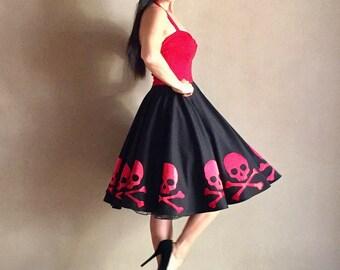 SKULL CROSSBONES Party Dress Custom Handmade By Hardley Dangerous Couture Rockabilly 50s Style Pin