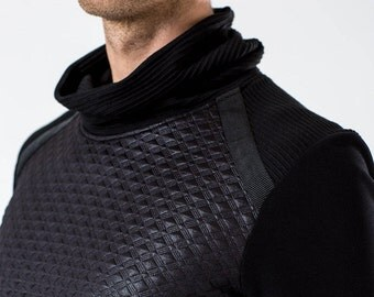 10% OFF Black military sweater turtleneck sci fi pullover high collar cyberpunk long sleeves thumb holes -N4 man
