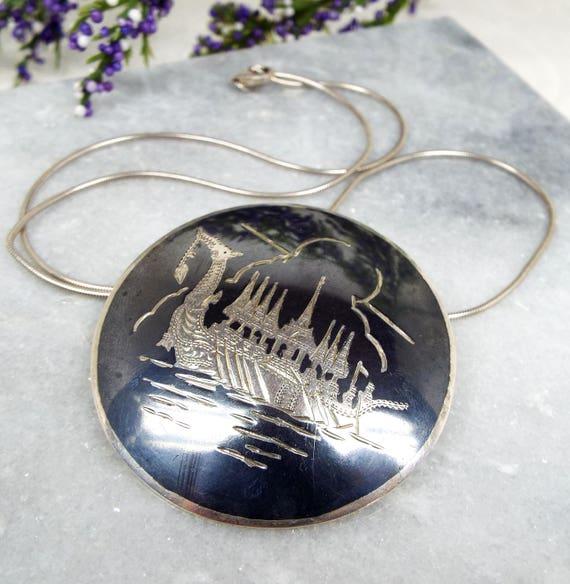 Vintage Sterling Silver Niello Black Enamel Dragon Boat Pendant Necklace Brooch