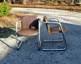 Vintage Chrome and Brown Leather Chair Set of 2 Modern Cantilever Furniture Kinetics Furniture Co Panchosporch