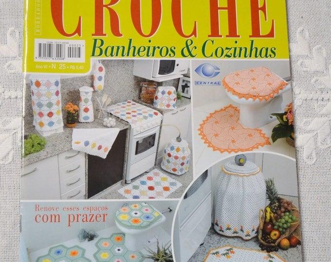 Crochet Magazine Trabalhos em Croche Brazilian Magazine Bathroom Kitchen Charts Pattern Instructions DIY Craft Portuguese PanchosPorch
