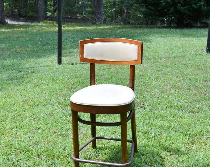 Vintage Bentwood Chair Cafe Bistro Chair Upholstered Foot Rail Dining Kitchen Seating Desk Chair Panchosporch