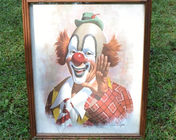 Vintage Ringo the Clown Print by Arthur Sarnoff Circus Theme Wall Decor Panchosporch