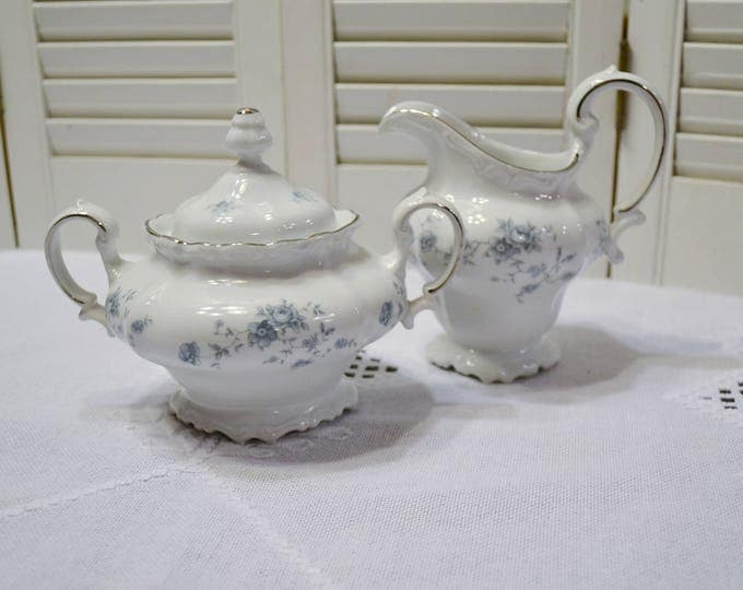 Vintage Johann Haviland Blue Garland Sugar Bowl and Creamer Set Bavaria Germany PanchosPorch