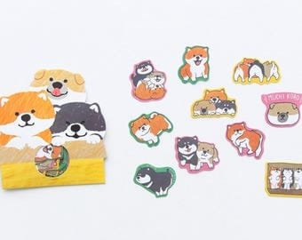 Dog Stickers/seals/Labels/Planner Stickers/Journal/Scrapbooking/Card Making/Craft Supplies/Cute Kawaii Stickers/Siberian Husky/Corgie/Chow