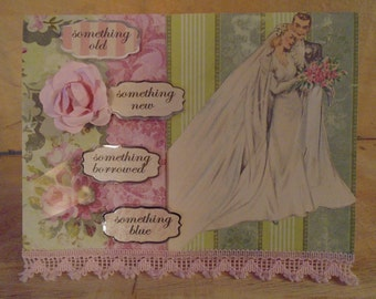 Vintage Inspired Wedding Congratulations Greeting Card