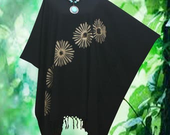 Bleached Fireworks Tie dye Fringe Beach Cover Up Poncho Top