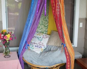 Rainbow Ribbon canopy tent, Vibrant bohemian tent, colorful bedroom drecor