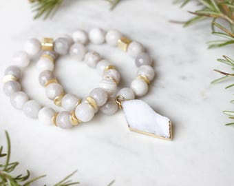 White Agate + Druzy Stretch Bracelets