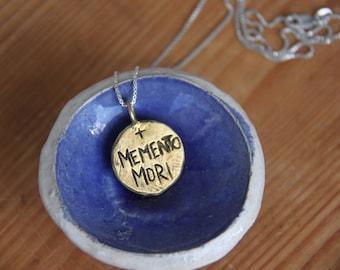 Memento Mori pendant necklace. star charm necklace silver.