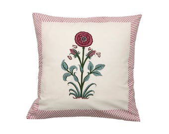 Cushion Cover - BLOCK PRINTED - Deep Pink Carnation