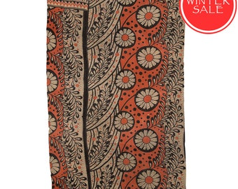 WINTER SALE - KANTHA Throw - Coral with black. Reverse black and gold - Unique, one of a kind.