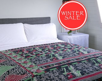 WINTER SALE - KANTHA Throw - Green and red on black. Reverse red and beige - Unique, one of a kind.
