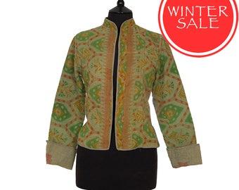 WINTER SALE - Small size - Short Kantha Jacket - Green with dusky orange. Reverse khaki.