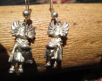 Sterling Silver 3-D Crow Mother Kachina Dangle Earrings