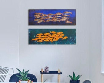 Fish wall art decor Set of 2 paintings Fish canvas painting Original acrylic painting Fishes paintings Restaurant decor Bright and colorful