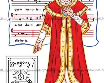 Saint Gregory the Great Paper Doll in Color and BnW (Articulated)