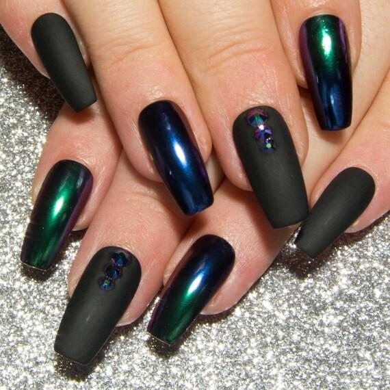 matte black chrome nails ombre mirror nails coffin false. Black Bedroom Furniture Sets. Home Design Ideas