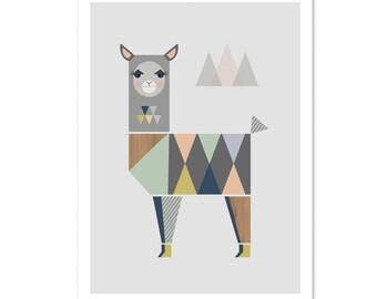 Llama Nursery Art Print, Kids art, kids wall art, nursery decor, modern nursery art, nursery wall art, girlsroom art, playroom art, baby art