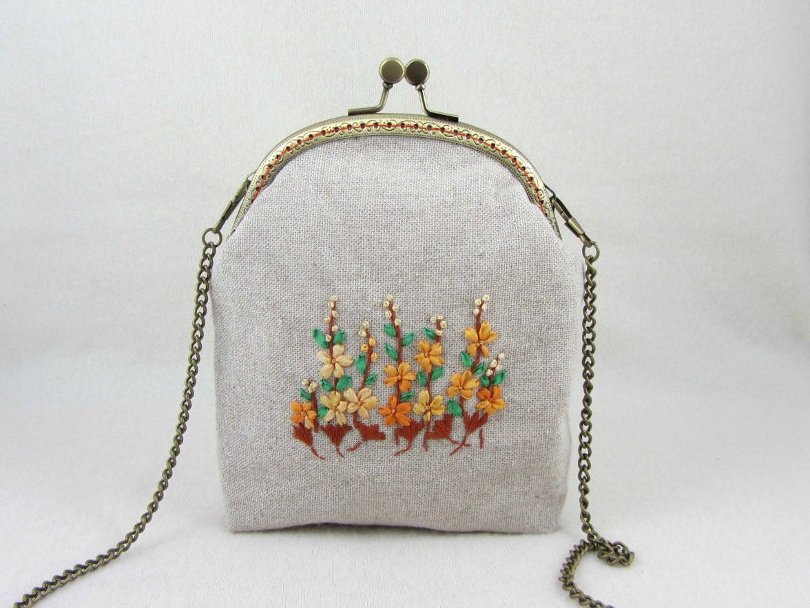 Embroidered linen bag hand purse silk ribbon