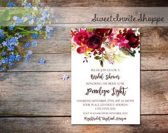 Burgundy Floral Bridal Shower Invitation, Boho Floral Bridal Invitation, Watercolor Flowers Invitation, Burgundy Bridal Shower Invitation
