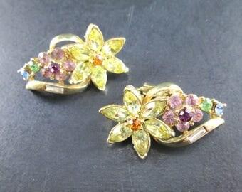 Vintage Coro Rhinestone Gold Tn Flower Cluster Earrings Clip On Signed