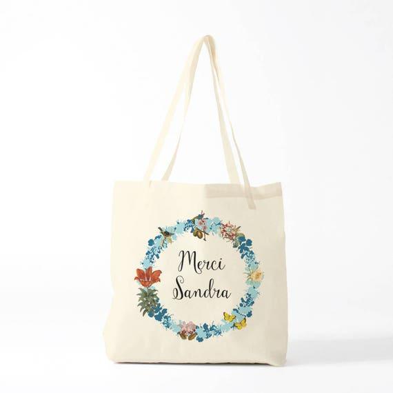 Tote Bag, Thank you Sandra, blue, name of your choice, birth gift, canvas bag name, custom tote bag, name on a bag, purse, groceries bag.