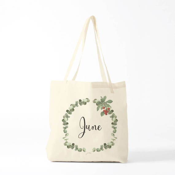 June, Tote bag, custom bag, canvas bag name, gift bridesmaid, wedding gift, gift coworker, gift baby, custom gift, gift name, gift colleague