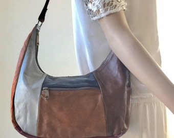 Patchwork Leather Purse, Bag, Shoulder Bag, Made in Mexico