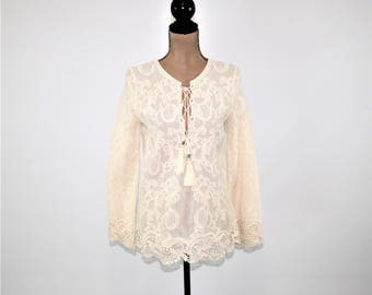 Romantic Boho Clothing Embroidered Bohemian Tunic Top Hippie Shirt Long Sleeve Bell Cotton Blouse Cutwork Lace Cream Ecru New Women Clothing