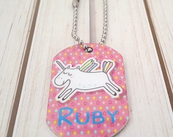 Girl's Mini Unicorn Bag Tag | Lunch Box Tag | Backpack Tag |  Zipper Pull | With Custom Info on the Back