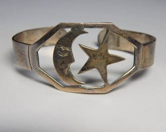 Vintage Unique Taxco Mexico Sterling Moon Star Bracelet - 925 Taxco Mexican Sterling Silver Moon Star Cuff Bracelet - Moon Star Bracelet