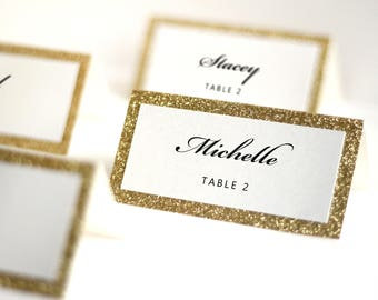Gold Wedding Place Cards, Gold Glitter Place Cards, Wedding Seating Cards, Wedding Name Place Cards, Set of 10 Cards
