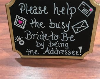Bridal Shower: Address an Envelope Sign