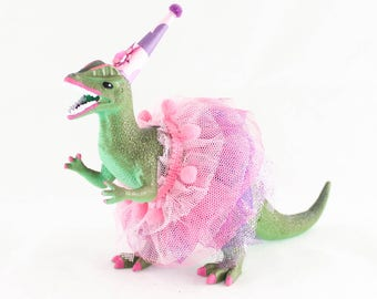 Party Dilophosaurus with Tutu - painted birthday decor