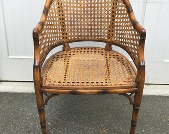 Faux Bamboo with Caning Accent Chair