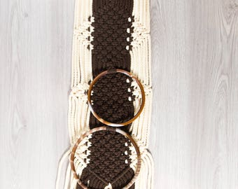Vintage Macrame Wall Hanging / White and Brown Macrame with 2 loops for Hand Towels