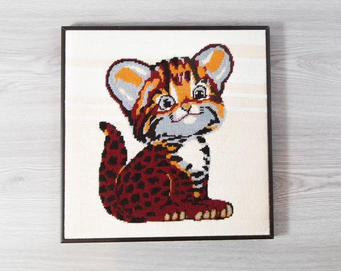 Vintage Baby Tiger Cross Stitch Artwork / Framed Embroidered Cat Fabric Art Tapestry / Kids Room Nursery Decor