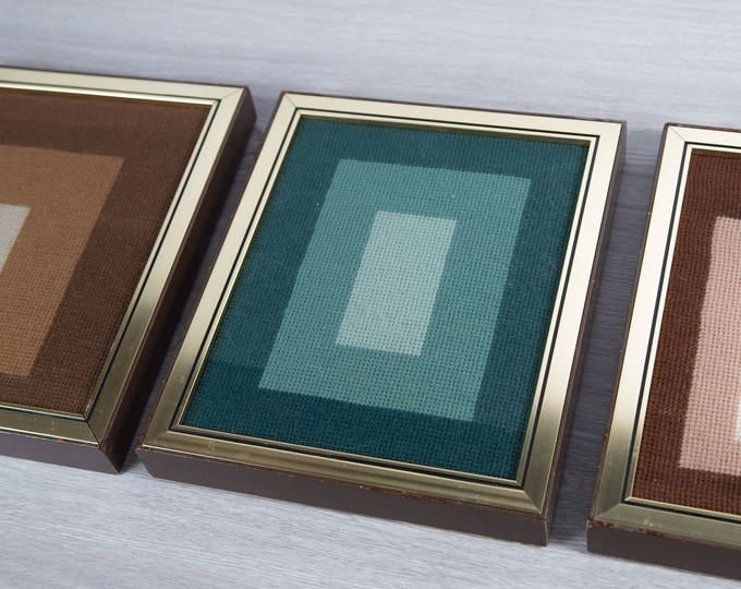 Vintage Geometric Artwork - Framed Rectangle Embroidered Cross Stitch with Mid Century Modern Pattern -