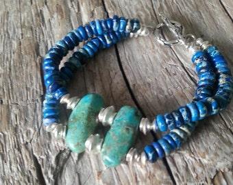 Handmade Turquoise and Jasper Bracelet