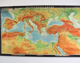 Large Canvas Backed School Map Of Southern Europe