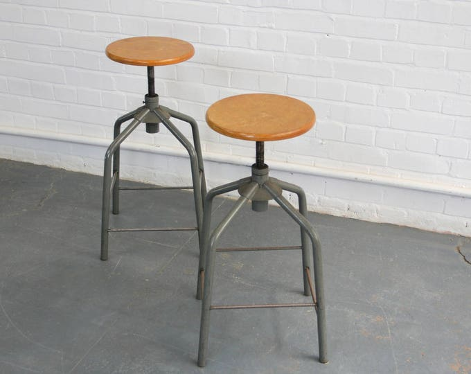 Mid Century French Industrial Swivel Stools Circa 1960s