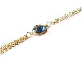 Labradorite Tassel Necklace // Gold Labradorite Tassel Necklace // Layered Necklace // Layering Necklace // Blue Flash Labradorite