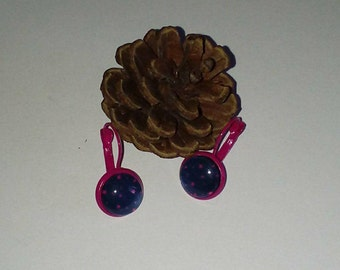 Fuchsia Blue Star glass cabochon earrings