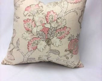 Rose, Pink, Taupe, & Beige Floral Motif Pillow Cover