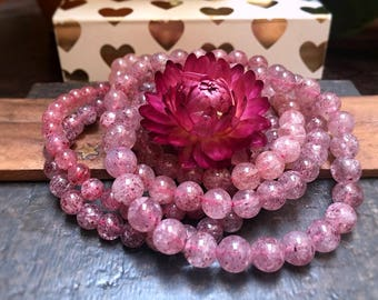 Strawberry Quartz Bracelet, Healing Crystal Jewelry, Reiki Infused Gemstone Bracelet