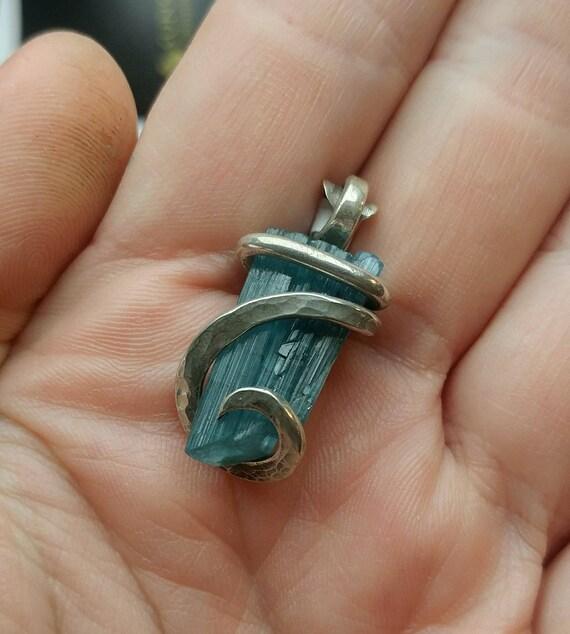 Raw Tourmaline Pendant | Sterling Silver Pendant | Rough Tourmaline Pendant | Blue Tourmaline Crystal Necklace | October Birthstone Pendant