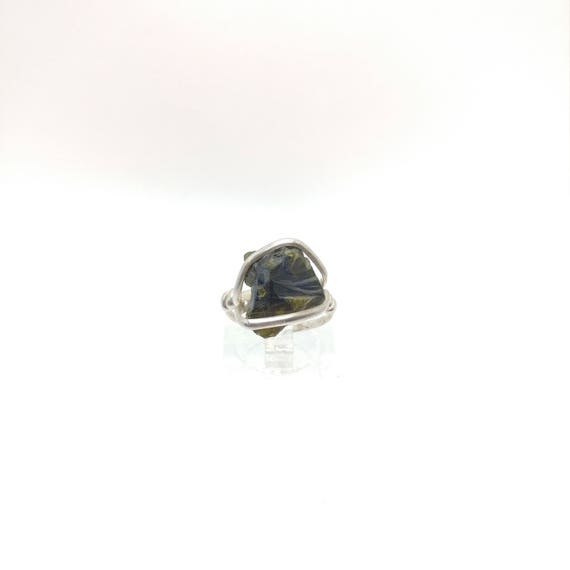 Raw Tourmaline Ring   Sterling Silver Ring Sz 4.5   Rough Tourmaline Ring   Uncut Gemstone Ring   Tourmaline Crystal Ring