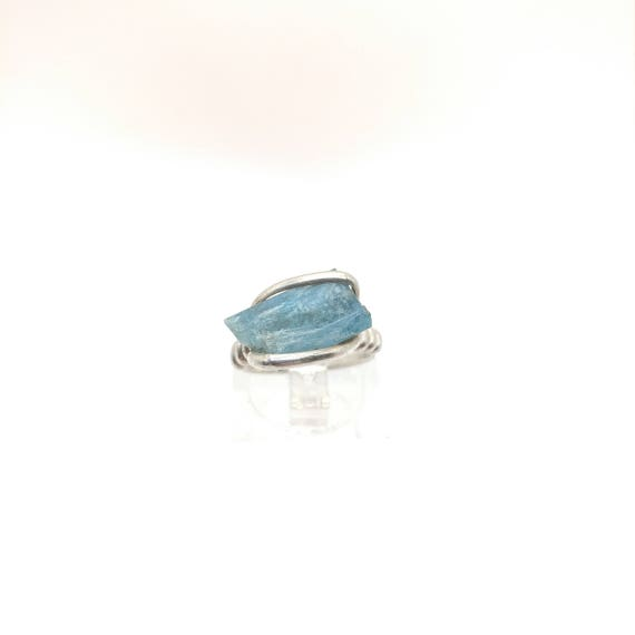Aquamarine Ring | Sterling Silver Ring sz 4.5 | Rough Aquamarine Ring | Raw Aquamarine Ring | Raw Gemstone Ring | March Birthstone Jewelry